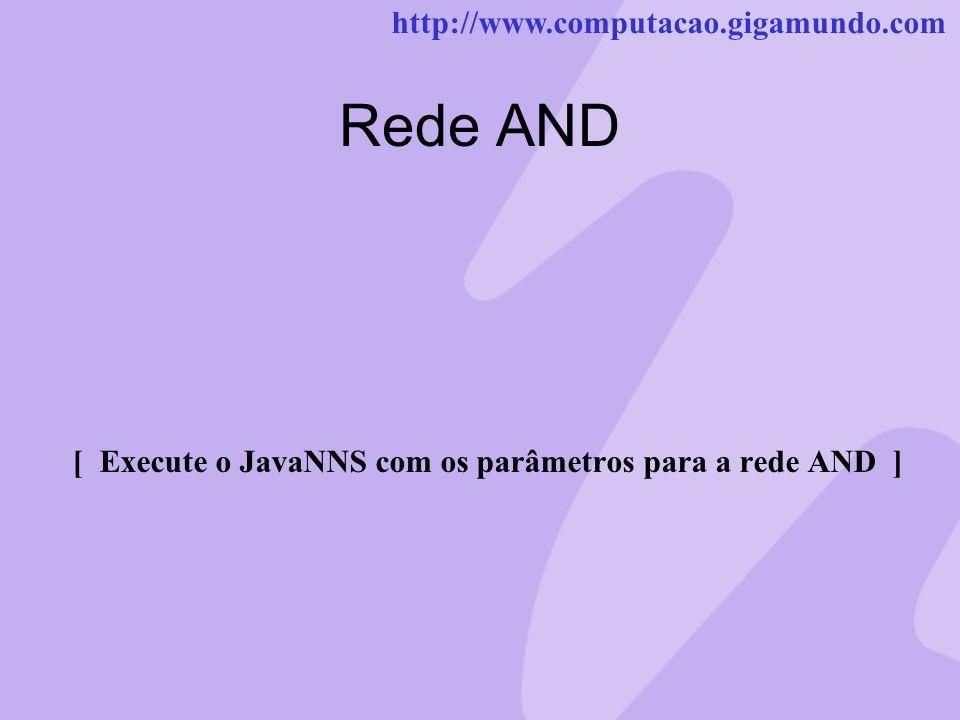 [ Execute o JavaNNS com os parâmetros para a rede AND ]
